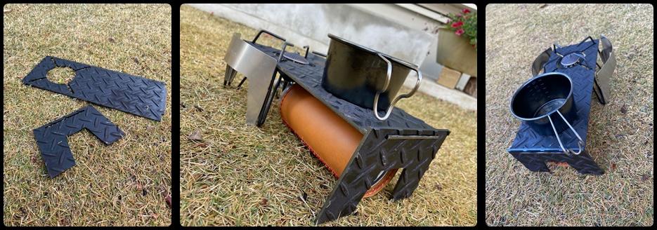 ガスバーナーの遮熱板兼用テーブル